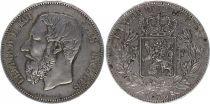 Belgium 5 Francs Leopold II - Arms - 1873
