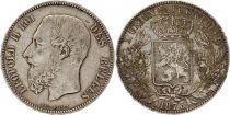 Belgium 5 Francs Leopold II - Arms - 1873 Silver