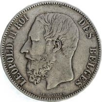 Belgium KM.24 5 Francs, Leopold II - Arms - 1874
