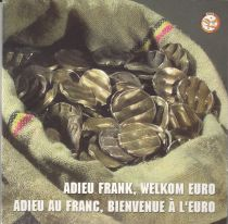 Belgium UNC Set Belgium 2002 - 8 euro coins + 5 coins in Francs cancelled