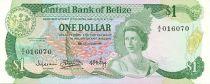 Belize 1 Dollar Elizabeth II, poissons - Immeuble