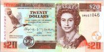 Belize P.72 20 Dollars, Elizabeth II - 30 ans Banque de Belize - 2012