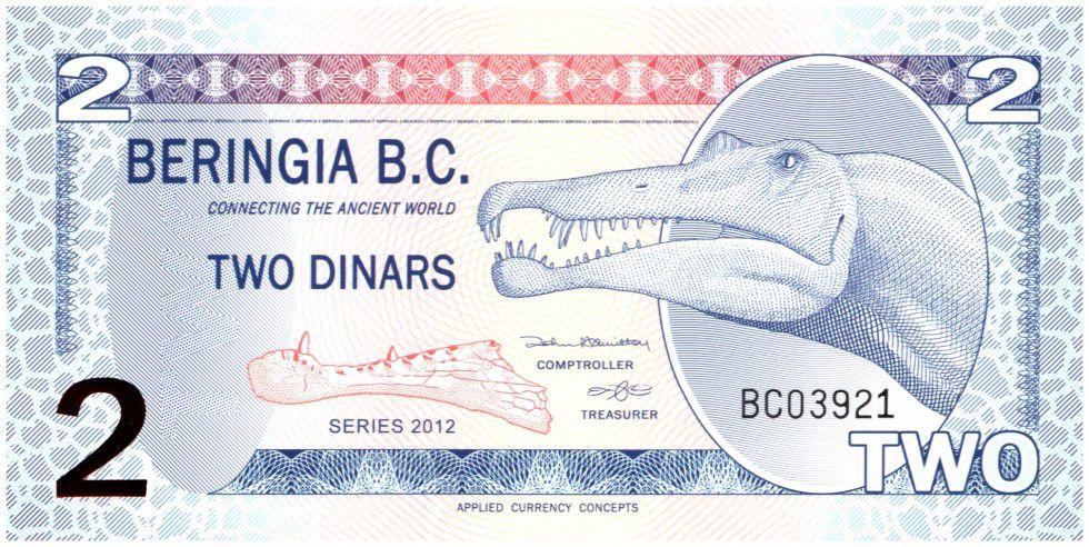 Beringia 2 Dinars, Dinosaure Spinosaurus - 2012