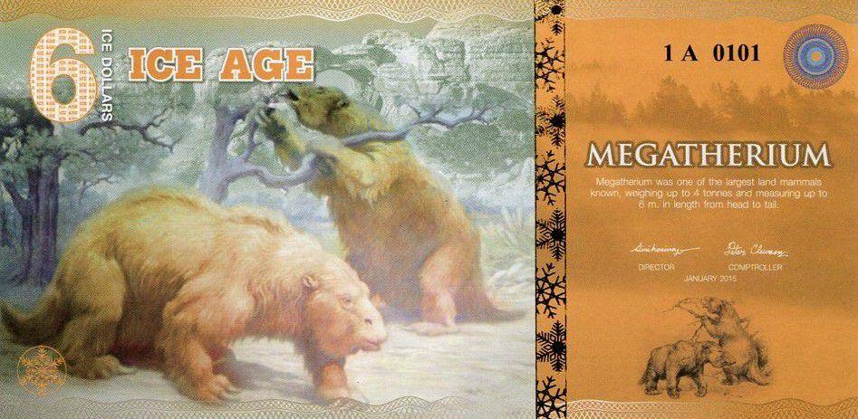 Beringia 6 Ice Dollars, Ours Geant - Megatherium 2015