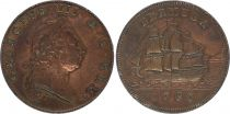 Bermuda 1 Penny Georges III, boat - 1793