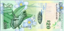 Bermuda 20 Dollars Whistling Frog and Flowers - Lighhouse - 2009 Serial A.1