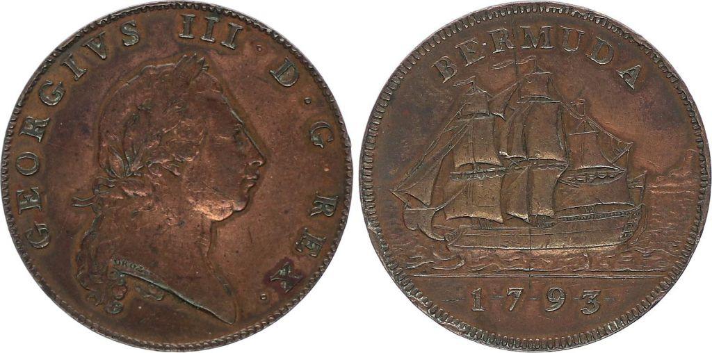 Bermudes 1 Penny Georges III, bateau - 1793