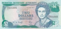 Bermudes 2 Dollars Elisabeth II - Carte ile - 1997