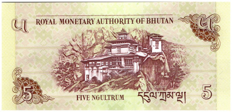 Bhoutan 5 Ngultrum Phoenix - Palais Taktsang
