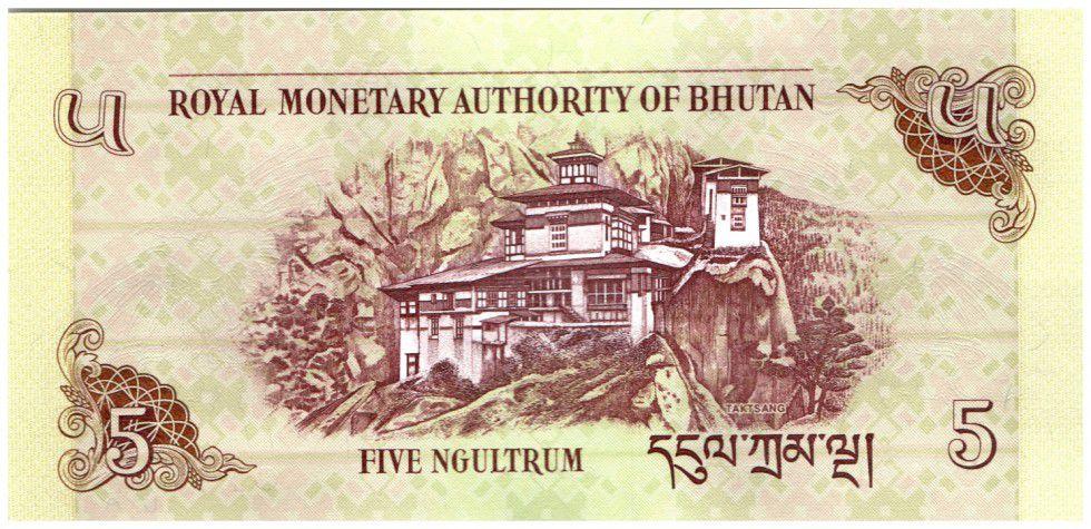 Bhutan 5 Ngultrum Phoenix , Taktsang Palace
