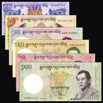Bhutan Serial 6 banknotes - 1 5 10 20 50 100 Ngultrum - UNC