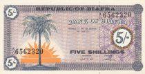 Biafra 5 Shillings 1967 Palm tree, young girls