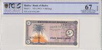 Biafra 5 Shillings 1967 Palmier, jeunes filles - PCGS 67 OPQ