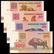 Biélorussie Série de 4 billets 25 à 100 Roubles - Animaux - 1992 Neuf