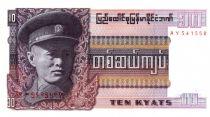 Birmanie 10 Kyats Général Aun San - Statue - 1973 - Série AY