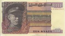 Birmanie 10 Kyats Général Aun San - Statue
