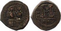 Bisanzio  Follis, Justin II and Sophia (565-578) - Nicomedia Year GII