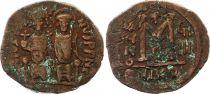 Bisanzio  Follis, Justin II and Sophia (565-578) - Nicomedia Year GIIII