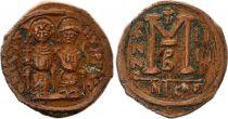 Bisanzio  Follis, Justin II and Sophia (565-578) - Nicomedia Year IIII