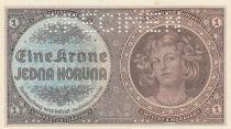 Bohéme et Moravie 1 Koruna ND1940 - Portrait de femme, Armoiries - Spécimen