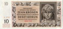 Bohéme et Moravie 10 Korun 1942 jeune fille