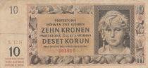 Bohéme et Moravie 10 Korun ND1942 - Jeune fille, Armoiries - Série 12N