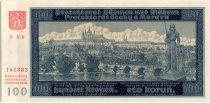Bohéme et Moravie 100 Korun  - Château et pont de Charles à Prague - 1940