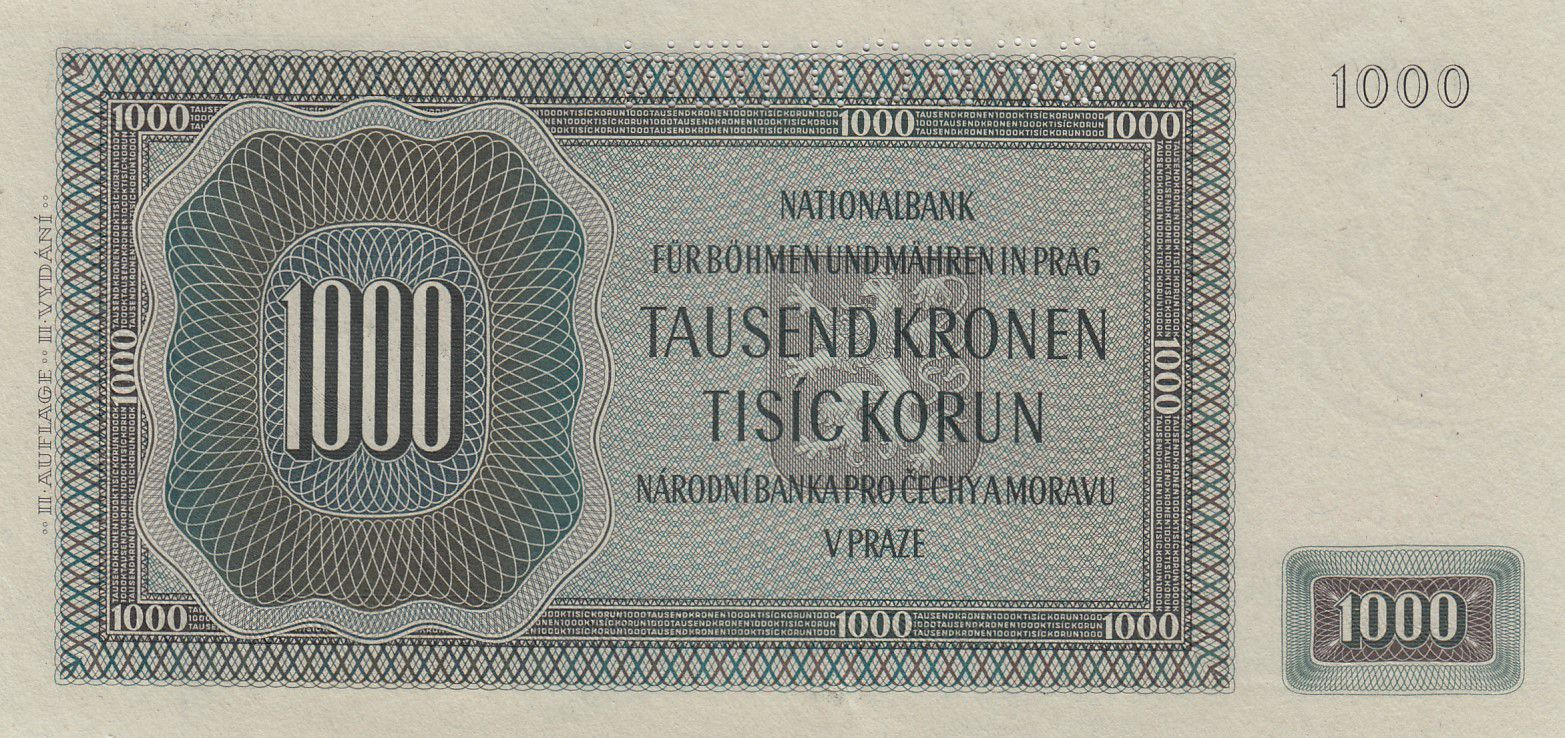 Bohéme et Moravie 1000 Korun  - Peter Parler - 1942 Spécimen