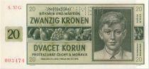 Bohéme et Moravie 20 Korun 1944 jeune garçon, spécimen