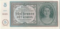 Bohéme et Moravie 5 Korun ND1940 Femme, Spécimen