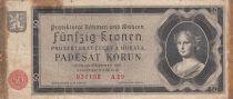 Bohéme et Moravie 50 Korun 1940- Jeune fille, Armoiries - Série A29