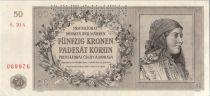 Bohéme et Moravie 50 Korun 1944 jeune fille, Spécimen