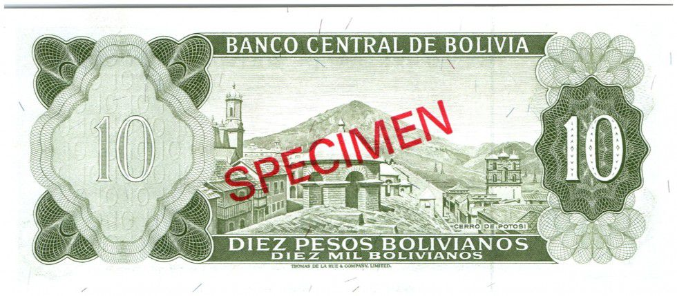 Bolivia 10 Pesos Bolivianos Bolivianos, G. Busch Becerra - Potosi mountain