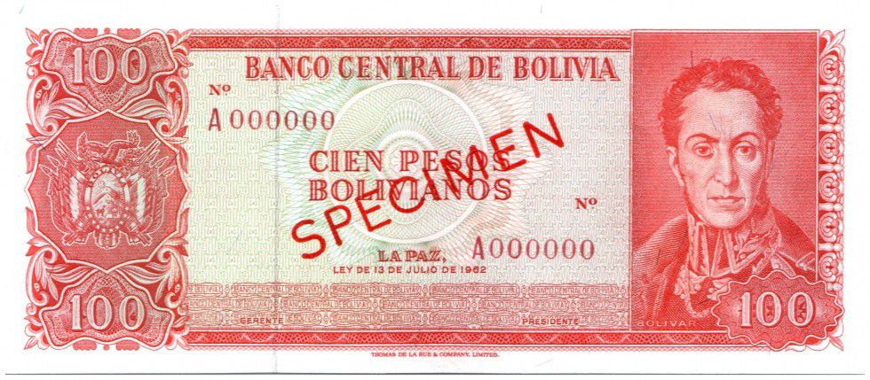 Bolivia 100 Pesos Bolivianos Bolivianos, Simon Bolivar - Independance day