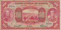 Bolivia 1000 Bolivianos, S. Bolivar, J. de Sucre - 1928 - P.127b - G to VG