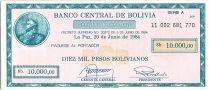 Bolivia 10000 Pesos Mercury (check) - 1984