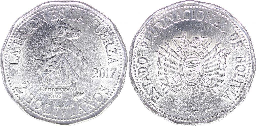 Bolivia 2 Bolivianos - Geneveva Rios - 2017
