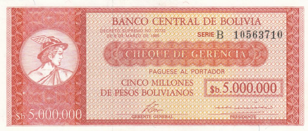 UNC /> Low S//Ns Bolivia P-192A 5,000,000 Pesos Bolivanos 1985