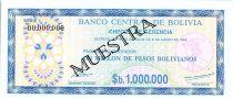 Bolivie 1 000 000 Pesos , Bleu (chèque) - 1985 - Muestra