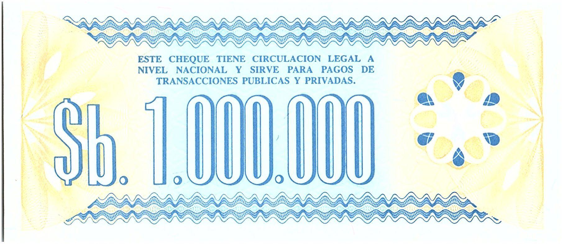 Bolivie 1 000 000 Pesos , Bleu (chèque) - 1985