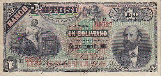 Bolivie 1 Boliviano A. Ballivian - Industrie - 1887