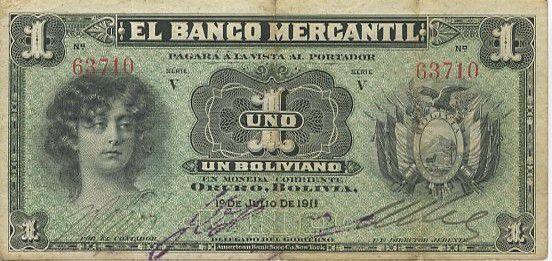 Bolivie 1 Boliviano Jeune Fille - Ferme