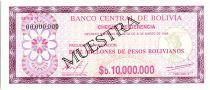 Bolivie 10 000 000 Pesos , Violet et Lilas (chèque) - 1985 - Muestra