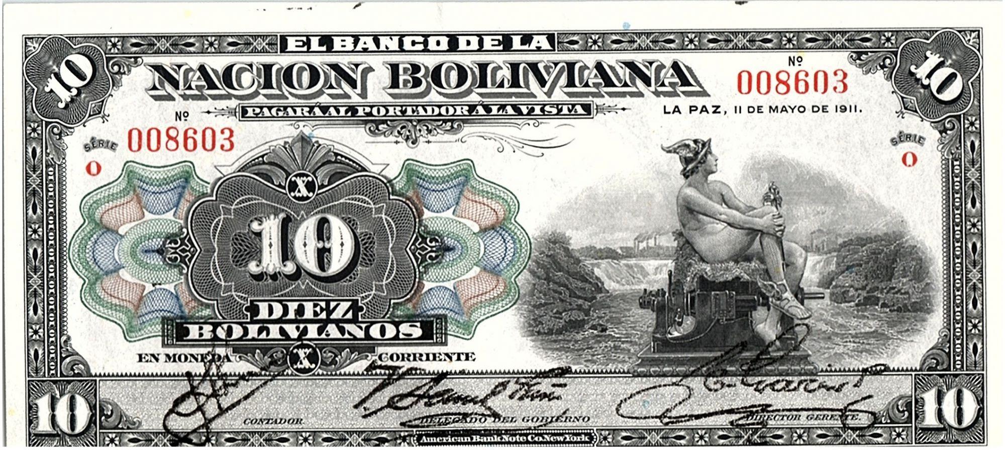 Bolivie 10 Bolivianos,  Mercure -  1911