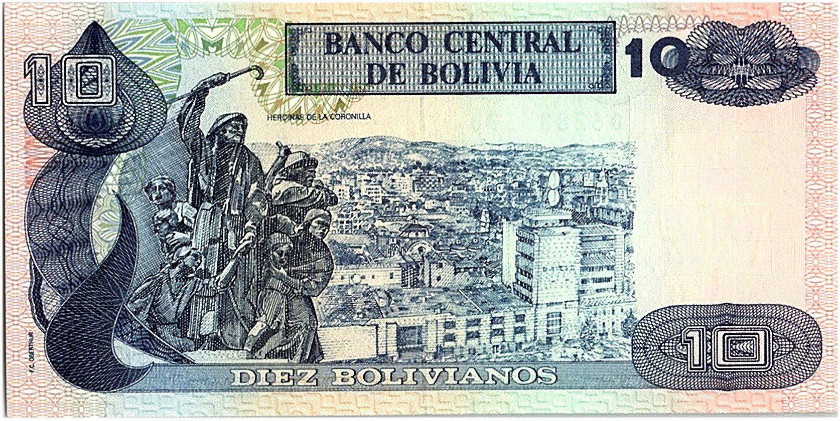 Bolivie 10 Bolivianos, Cecilio Guzman de Rojas - 1990