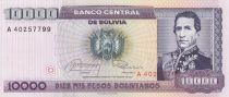 Bolivie 10000 Pesos Bolivianos Bolivianos, Maréchal A. De Santa Cruz - Parlement - 1984