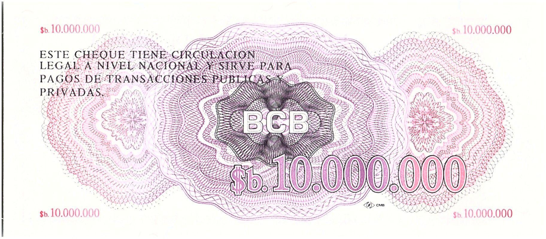 Bolivie 1000000 Pesos, Mercure (chèque) - 1985