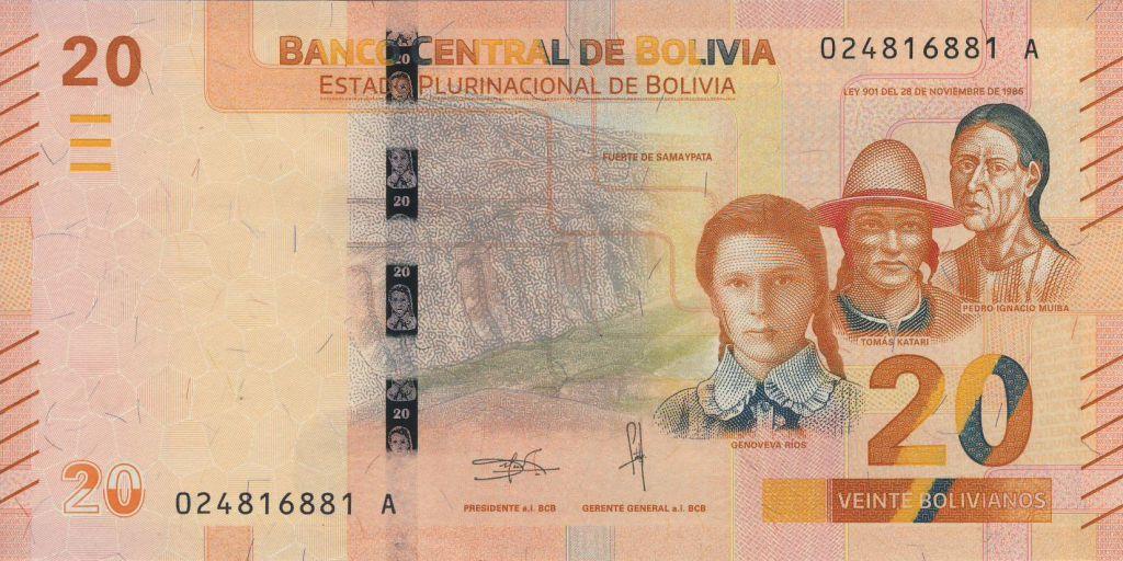 Bolivie 20 Bolivianos Héroes Boliviens - Cocrodile - ND (2018)