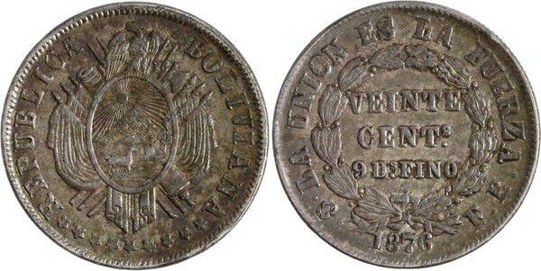 Bolivie 20 Centavos Armories - Valeur dans une couronne