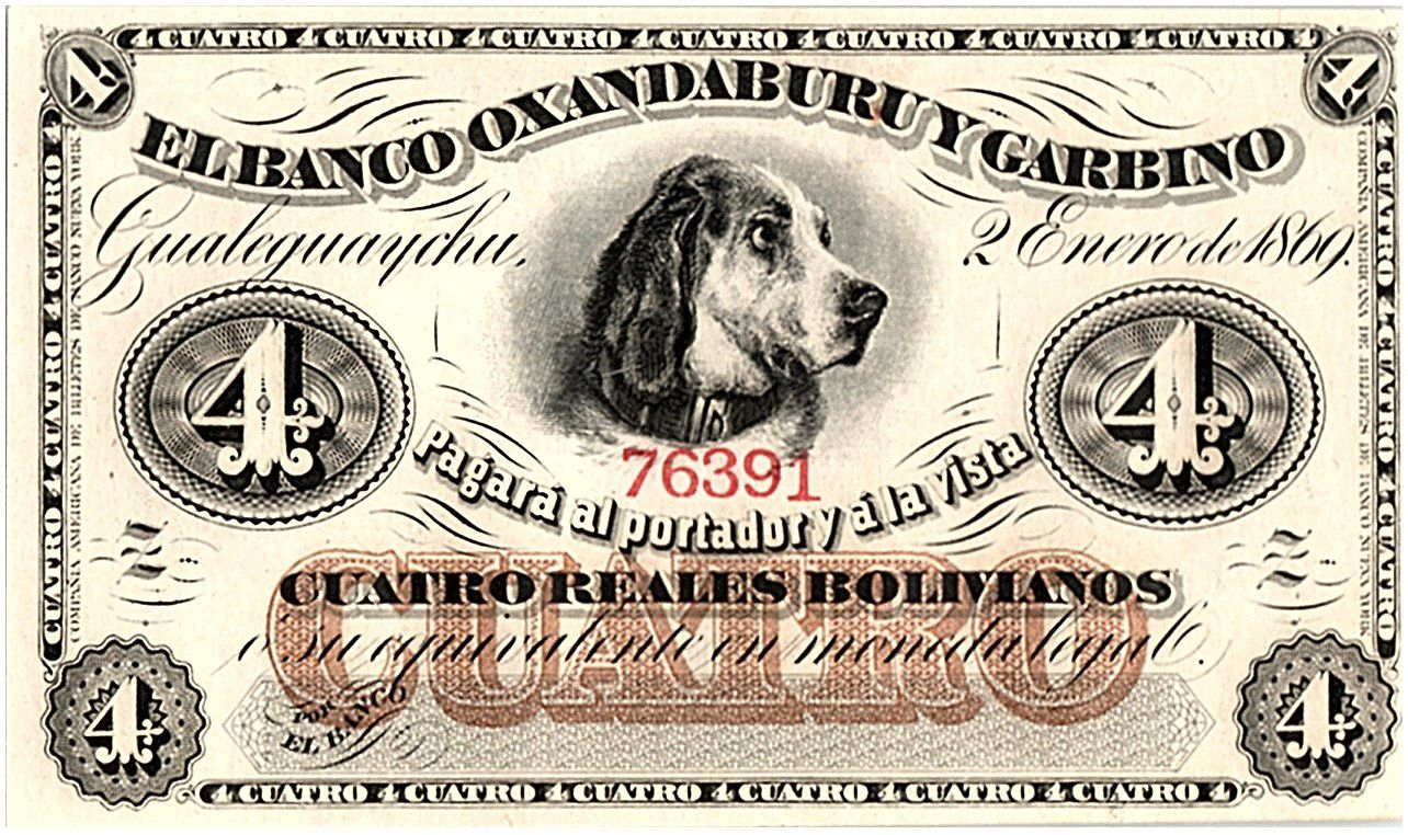Bolivie 4 reales Bolivianos, Chien - 1869
